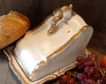 HUGE VINTAGE CHEESE Dish & Cover, Gaudy vast butter or cheese dish, Shabby Chic cream and gold kitchenalia, superb display or prop item.