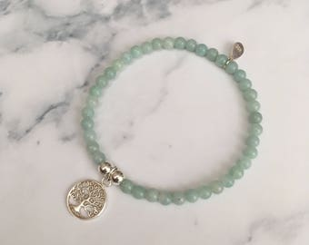 Sterling Silver stretch bracelet with Chinese Amazonite beads and Circle Tree of Life charm
