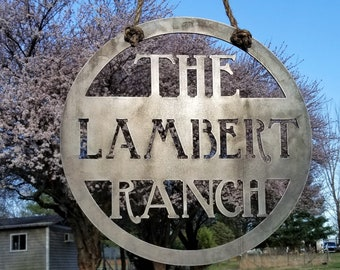 Hanging Ranch Sign - Custom Metal Sign - Family Name Sign - Metal Ranch Sign - Farm, Farmer, Ranch