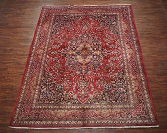 Antique 10X13 Persian Kashmar Hand-Knotted Wool Area Rug 1940's Carpet (9.9 x 12.10)