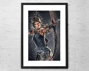 Lara Croft - Illustration - Tomb Raider Art Print - Video Game Poster - Lara Croft Art - Game art - Gaming - Tomb Raider Poster - Geekery