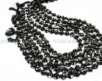 Black Spinel Faceted Cushion Semiprecious Gemstone beads, Quality AAA, 8.50 to 9.50 mm, 36 cm, 36 pieces, Semiprecious Gemstone Beads