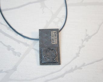 women grey square Asian style necklace, jewelry charcoal gray Japanese relief, unique jewelry
