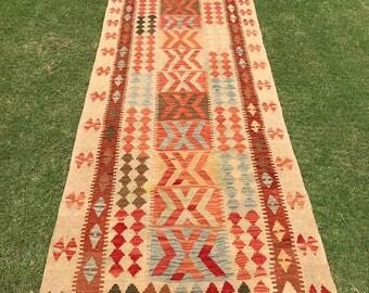 Article # 5368 VEGETABLE DYED Hand Made Chobi Kilim Runner Rug Double Face Design 394 x 100 cm - 13.0 x 3.3 Feet