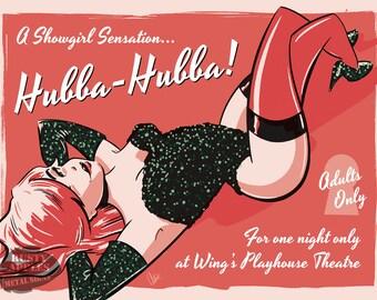 Hubba Hubba Live Show Burlesque Risque Saucy Pin-Up Retro Home Decor Metal Sign