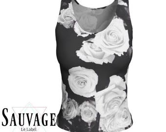 Black and White roses - Athletic (like for yoga) (or not) Fitted tank top for the wild ones - Totally handmade in Montreal - S to XL