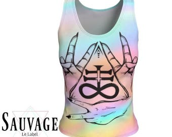 Satan's Hands signs in colors - Athletic (like for yoga) (or not) Fitted tank top for the wild ones - Totally handmade in Montreal -XS to XL
