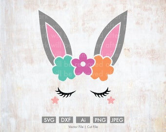 Bunny Ears and Eyelashes - Cut File/Vector, Silhouette, Cricut, SVG, PNG, Clip Art, Download, Holidays, Happy Easter, Spring, Rabbit