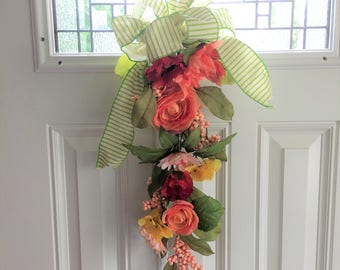 Red Peony Swag, Fall Swag Wreath, Door Wreath Swag, Fall Swag, Door Swag, Floral Swag, Rustic Swag, Housewarming Gift, Red Swag, Family Gift