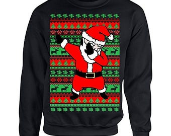 Tee shack Adult Crewneck Dabbing Santa Ugly Christmas Sweater
