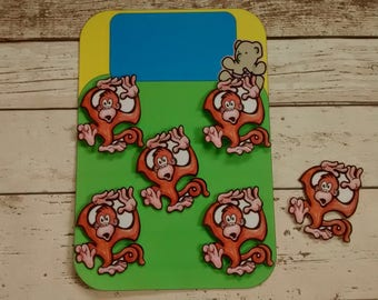5 little monkeys jumping song, nursery song, counting song, counting rhyme, interactive resource, for nursery or Reception class, EYFS, SEN