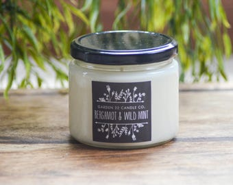 Soy Wax Candle, Bergamot and Wild Mint, Scented Soy Candle, Mint Candle, Spa Candle, Bergamot Candle, Aromatherapy Candle, Natural Candle