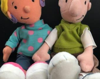 Vintage Doug Funny & Patti Mayonnaise soft plush toys Rare 90s cartoon collectables