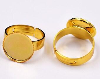 20pcs 12mm Ring Blank-Adjustable Ring 12mm-Round Cabochon Setting-12mm Bezel Ring Base-Bezel Ring Blank-Bezel Setting Ring Blank Pads-N size