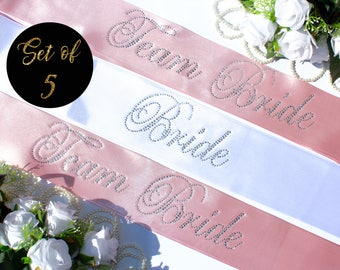 set of 5 Bachelorette sashes / 5 Team Bride Sashes / Bachelorette Party Sashes / set of 5 Bachelorette Party Sashes / crystal bridal sashes
