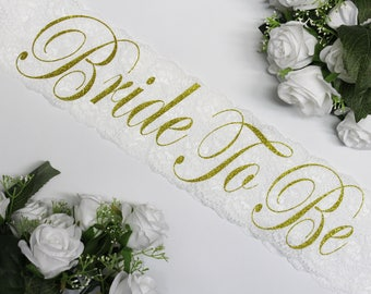 Bachelorette Party Lace with pin, Bridal Sash, Bride To Be, Team Bride, Maid of Honor, Bridal Shower, Personalized, Plus Size, Model RS