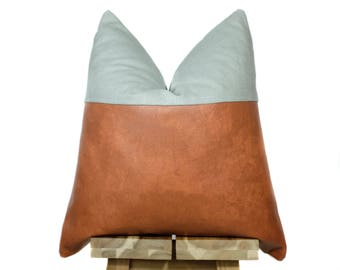 Faux Leather and Linen Pillow Cover | Bourbon & Gray | 'Indi'