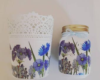 Blue Wild Flowrs, Hand painted, Decoupaged Mason Jar and Plant pot Gift set, 500ml jar, Gift for home, Gift for her