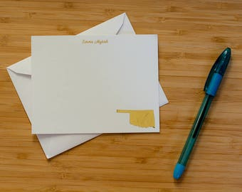 Home state personalized gold foil press stationery set of 10 with envelopes