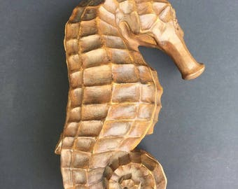 Vintage Hand Carved Sea Horse Jewelry Box