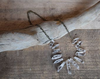 Creeks and clear. Quartz necklace. Antiqued brass. Nickel free.