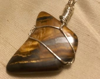 Raw Earthy Wire Wrapped Stone Pendant