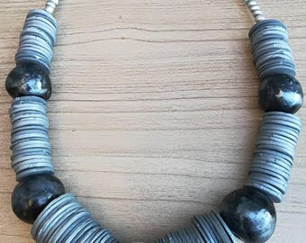 Short grey silver necklace and earrings