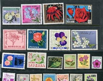 25 Worldwide Flower Postage Stamps Used & Unused