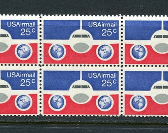 Jet Stamps/ 6 Unused Stamps / 25 Cent Air Mail Stamps