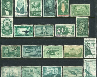 Green Stamps/Used USA Stamps/ Shades Of Green Stamps