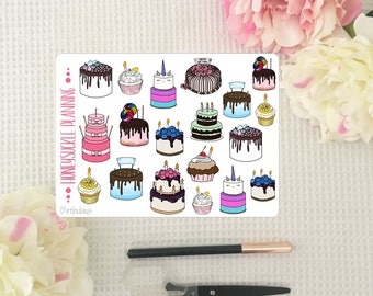 Birthday Cake Planner Stickers
