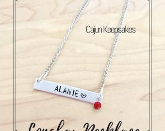 Longbar Necklace   Custom   Personalized Hand Stamped Jewelry