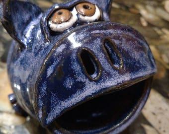 Small blue stoneware piggy bank
