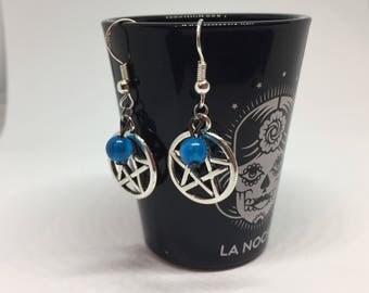 Silver and Blue Pentagram Earrings