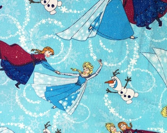 Blue frozen fabric, Sparkly fabric, Elsa and Anna, Olaf fabric, 100% Cotton, Snowflake fabric, Disney fabric, Disney quilting fabric