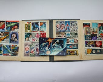 Soviet Postage Stamp Collecting Album, Vintage Soviet Stamp Book, Small Stamp Collection Holder, Philately Book, Stamp display, Space