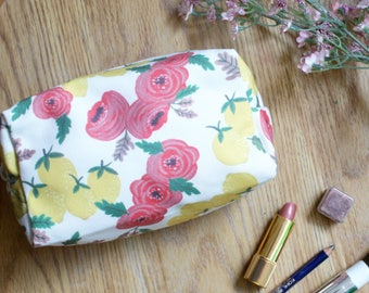 Box Pouch Lemon Roses, Box Pouch Floral Pattern, Floral Cosmetic Bag, Make Up Pouch