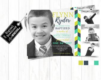 LDS Baptism Invitation, Navy, Lime & Teal Boy Baptism Invite | Herringbone Pattern Invite | Personalized Digital Download 4x6 or 5x7 JPG
