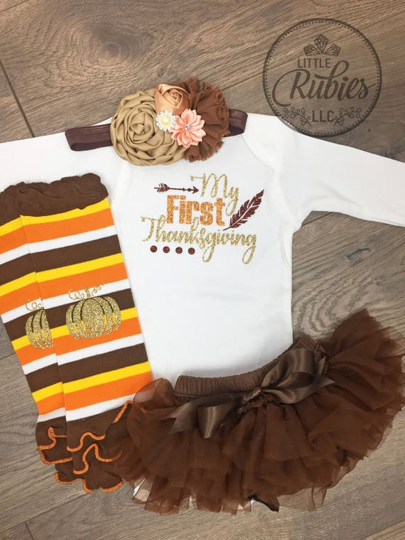 My First Thanksgiving Outfit Baby Girl Thanksgiving Outfit My