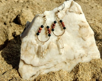 Quartz crystal gold earrings with onyx