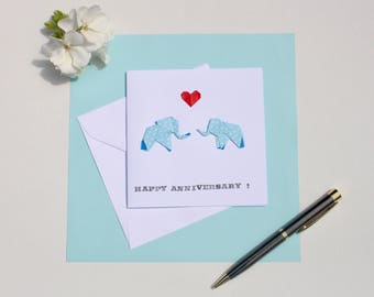 Origami Double Elephant Greetings Card