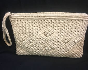 "Vintage ""Nevach""Macrame Clutch Purse"