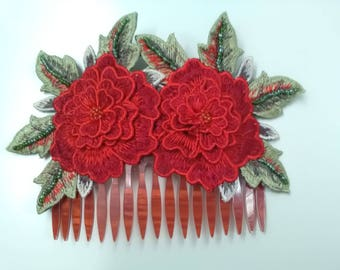 Embroidered flowers comb, red roses comb, godmother comb, flamenco hair, fair, party, guest, Mother's Day