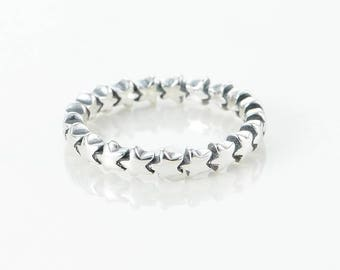 Star or Hearts Stacker Ring. 52 54 56 58 S925 Silver New like Pandora, inspired.
