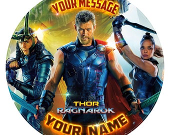 """THOR Movie Inspired Personalised Birthday Cake Topper Decoration. Edible Icing Print 7.6"""""""
