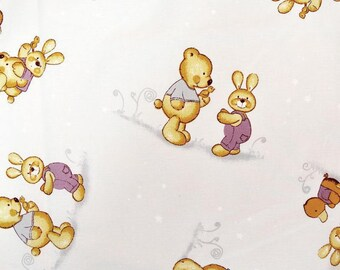 bears and bunnies purple background printed cotton fabric