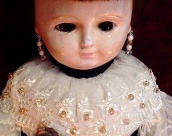 Beautiful Antique German Wax-Over Doll ~ LARGE ~ 26""