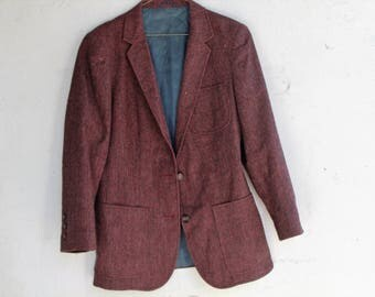 Vintage 70s 80a 90s SACH'EL Maroon 2-button side pockets Blazer Jacket Coat |Size Small|-Used