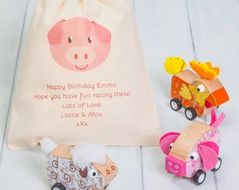 Wooden Pull Back Farm Animals With Personalised Bag
