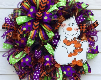 Ghost Wreath, Halloween Mesh Wreath, Boo Wreath, Ghost door wreath, Best Fall Wreath, Ghost Door Decor, Ghost mesh wreath, Halloween Door